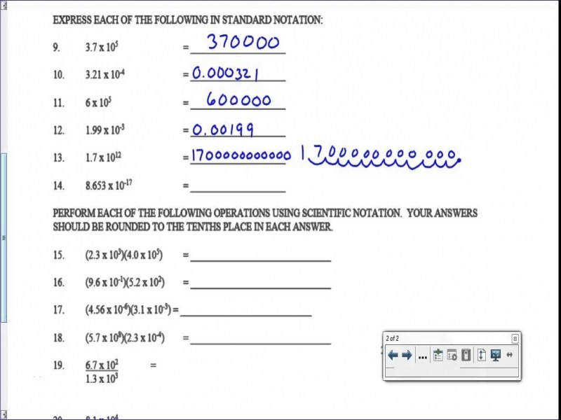 Scientific Notation Worksheet – Key – Youtube