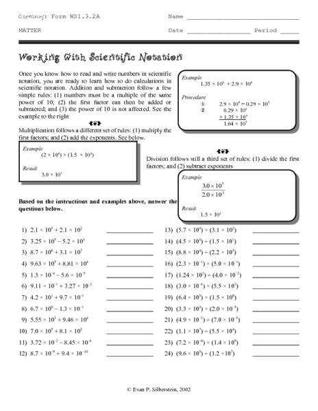Scientific Notation Review Worksheet s pigmu