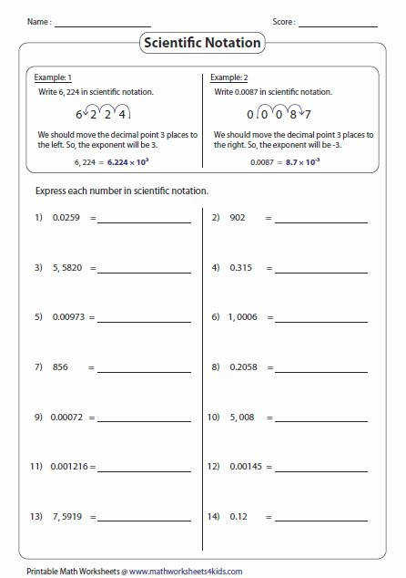 PreAlgebra Worksheets Scientific Notation Exponential Notation Worksheet Calleveryonedaveday