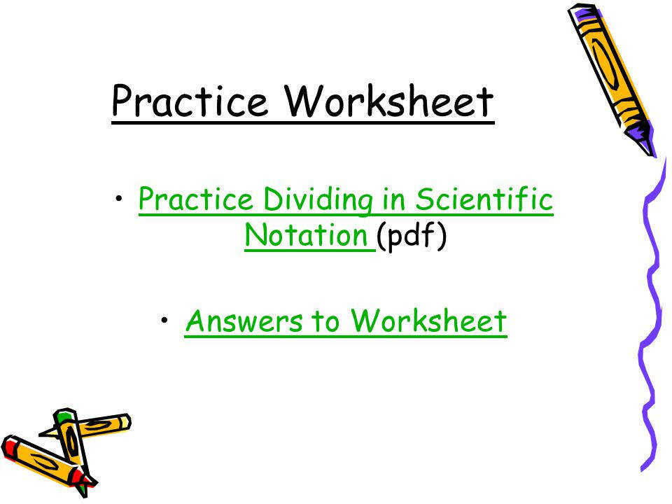 Practice Dividing in Scientific Notation pdf