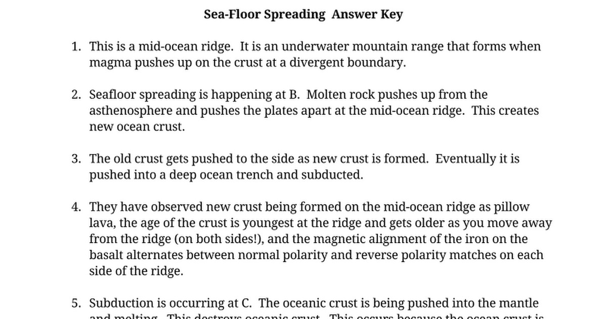 Sea Floor Spreading Worksheet Answer Key Related Keywords And Tags
