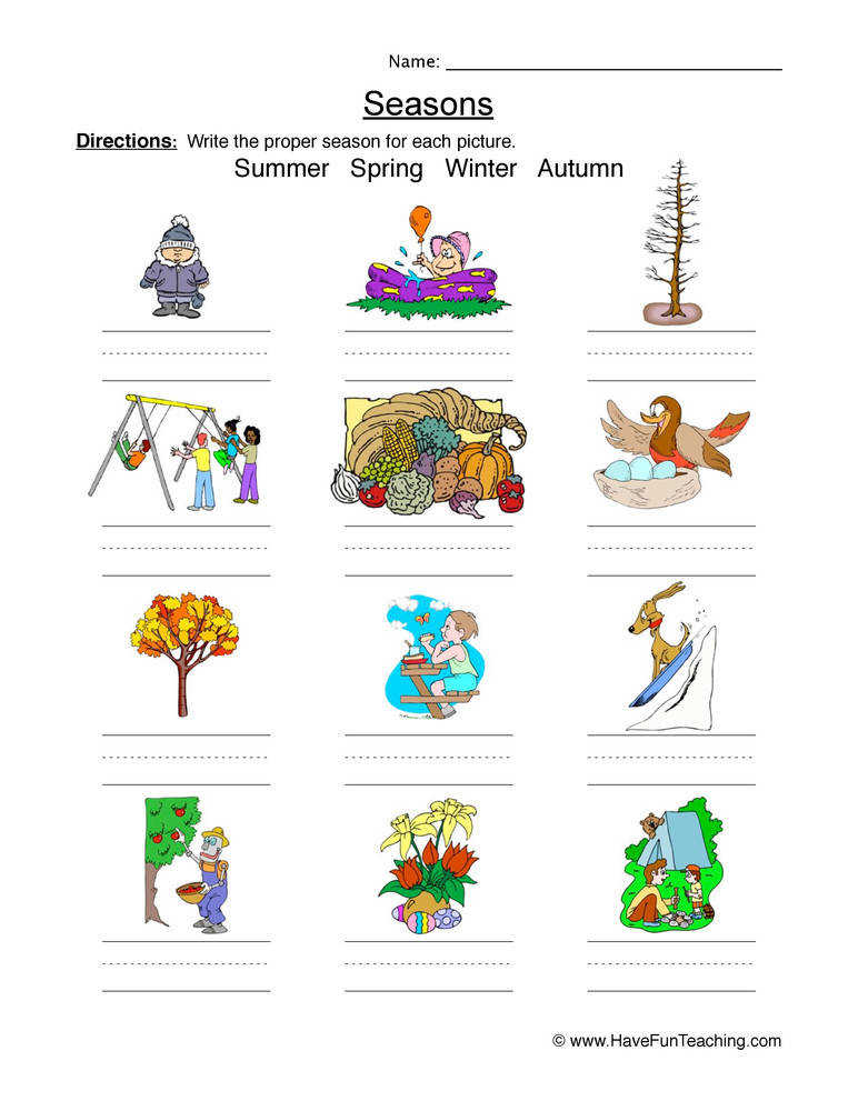Classifying Seasons Worksheet –