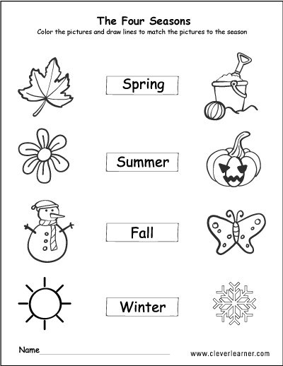 The seasons activity worksheet for preschools Spring summer autumn winter activity sheet for kindergarten