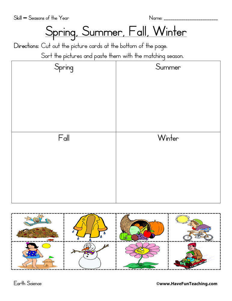 Seasons of the Year Matching Worksheet