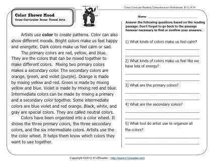About this Worksheet Week 12 Reading prehension
