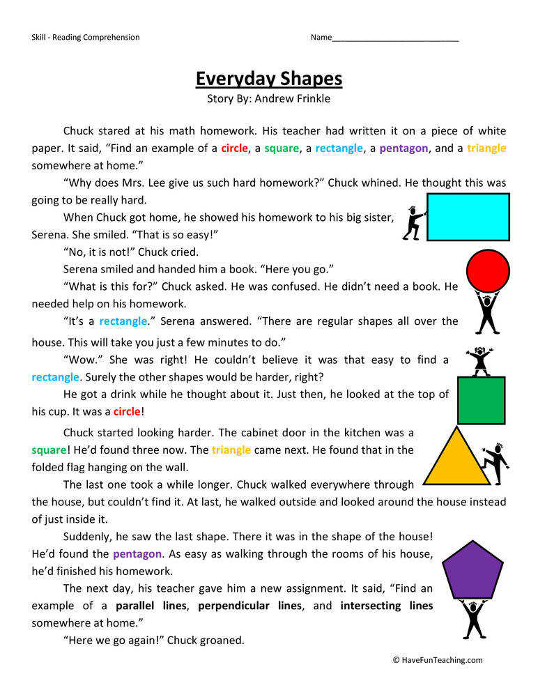 Everyday Shapes – Reading prehension Worksheet