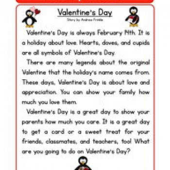 Second Grade Reading prehension Worksheet Holiday Stories Valentines Day