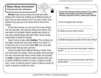 About this Worksheet Week 20 Reading prehension