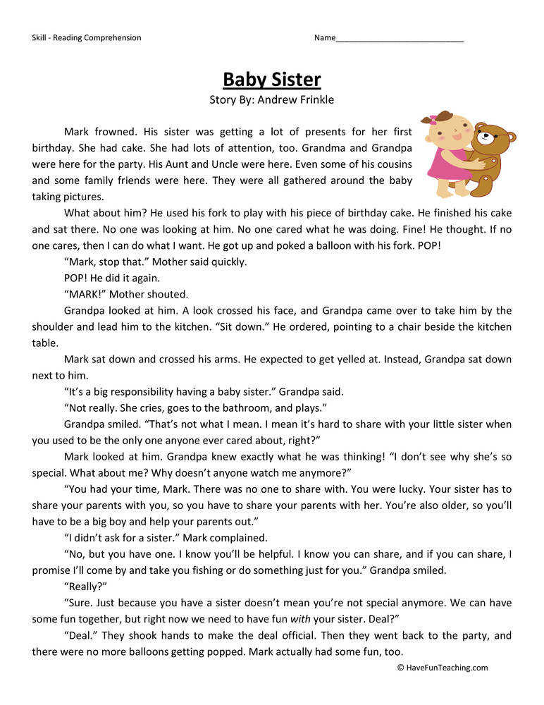 Baby Sister – Reading prehension Worksheet