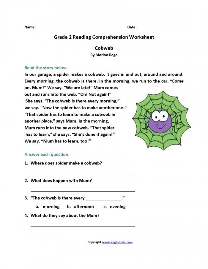 Reading Worksheets For 2nd Grade Capture Reading Worksheets For 2nd Grade Cobweb shot Second