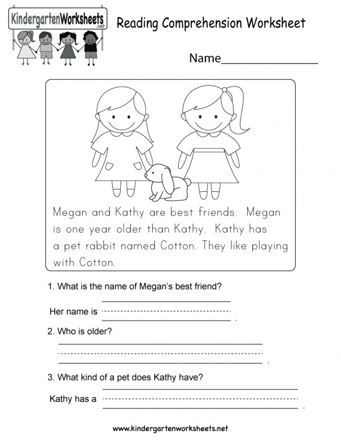 Reading prehension Worksheet Free Kindergarten English Prin Reading prehension Worksheets For Kindergarten Free Worksheet Medium