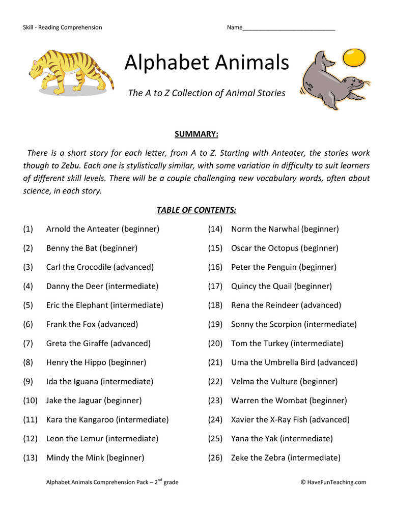 Alphabet Animals – Reading prehension Test Collection