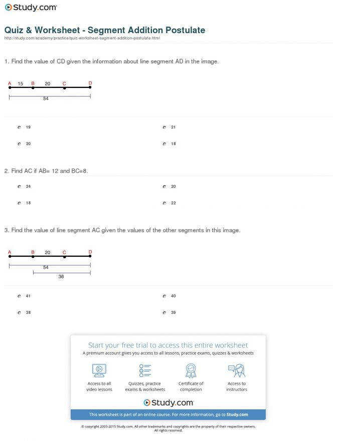 Quiz Worksheet Segment Addition Postulate Study P Segment Addition Worksheet Worksheet Medium