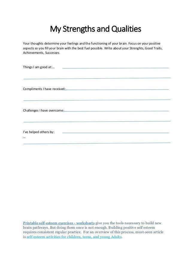 self esteem worksheets for kids pdf
