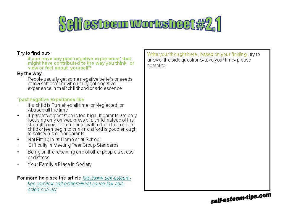 petence 6 Worksheets Self Esteem In Module 2 Building Self Esteem