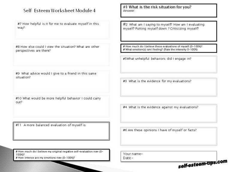 Bunch Ideas of Printable Self Esteem Worksheets For Download Proposal
