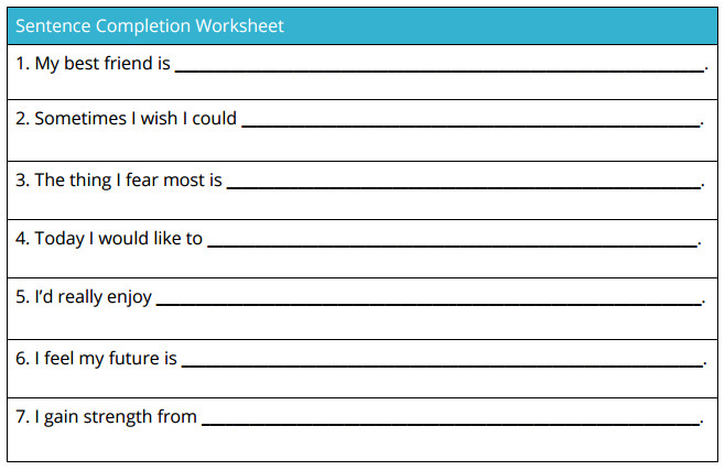 sentence pletion worksheet self esteem