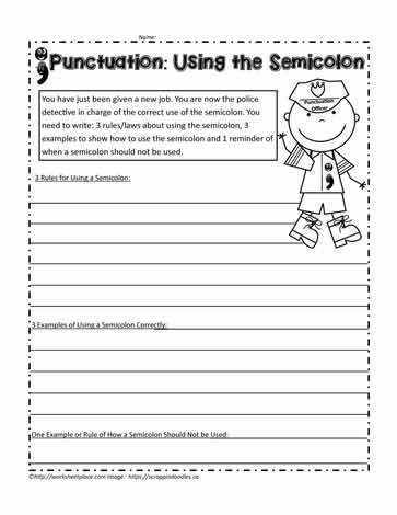 A fun semicolon worksheet for 4th grade students Differentiate your instruction with these punctuation worksheets