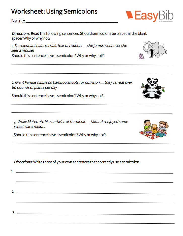 Semicolon Worksheet