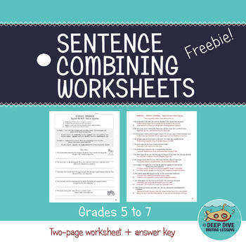 Sentence bining Worksheets Grades 5 to 7