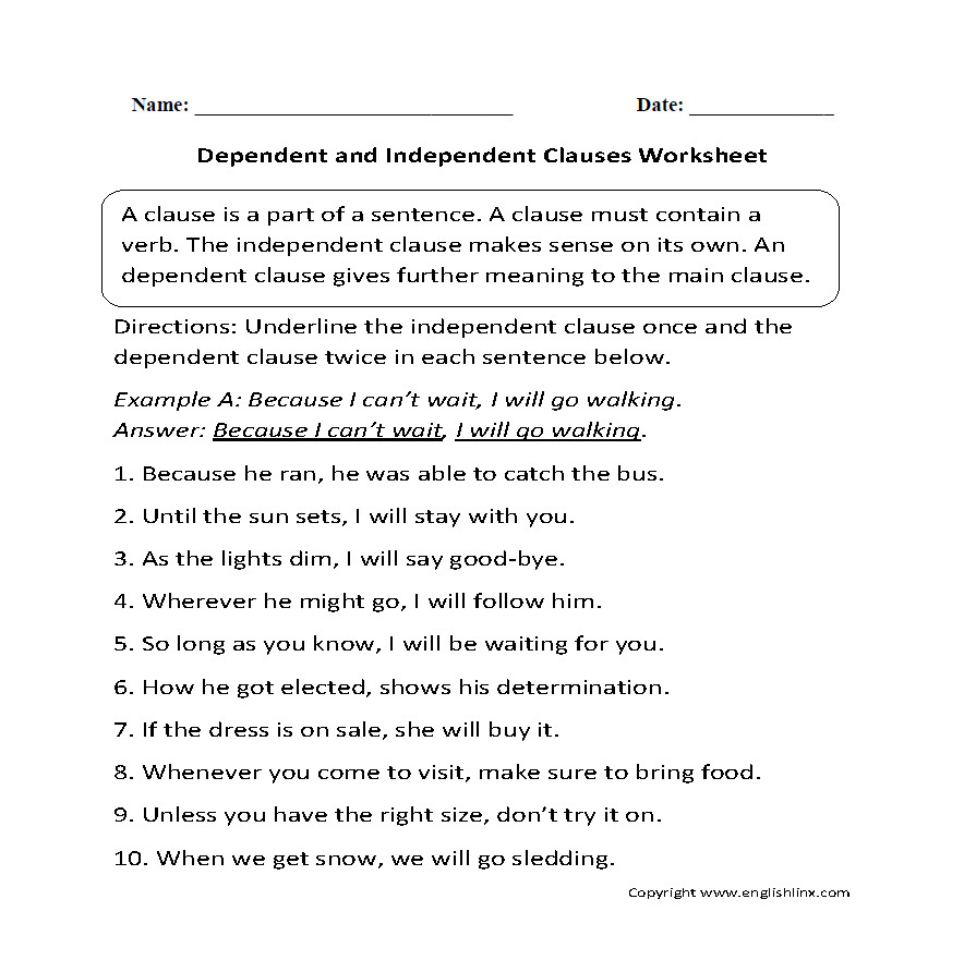 Clauses Worksheet