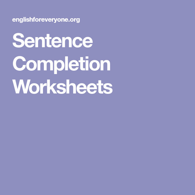 Sentence pletion Worksheets
