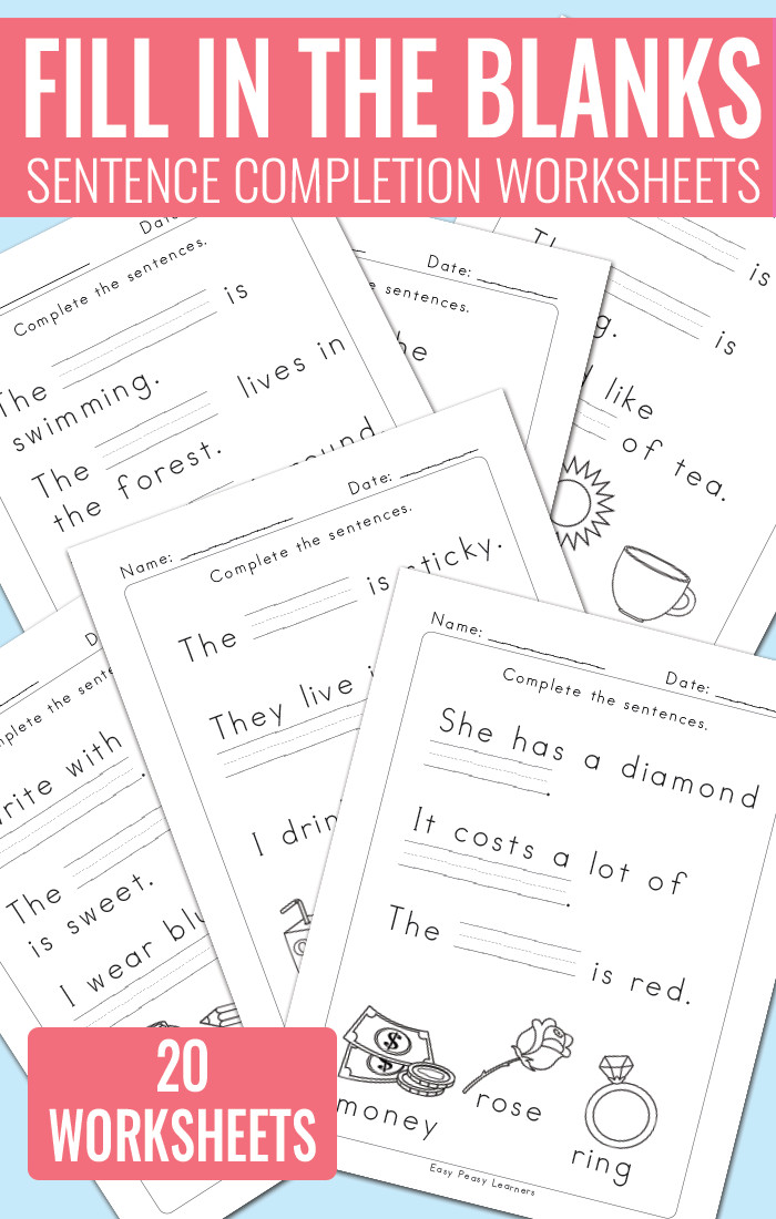Fill in The Blanks Sentence pletion Worksheets