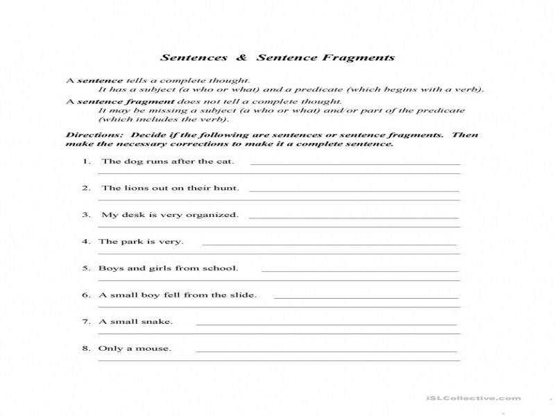 Sentence Fragment Worksheet – Free Esl Printable Worksheets