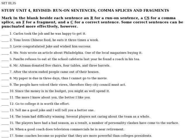 Sentences Sentence Run or Fragment 4th 6th Grade