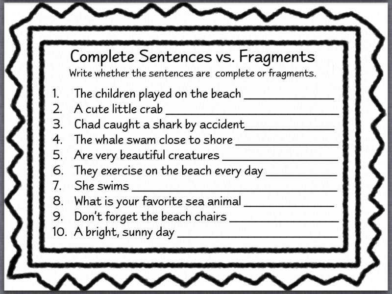 sentence fragment worksheet. Black Bedroom Furniture Sets. Home Design Ideas