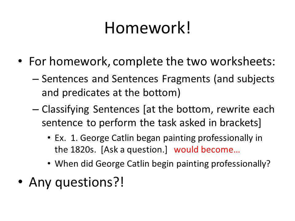 For homework plete the two worksheets