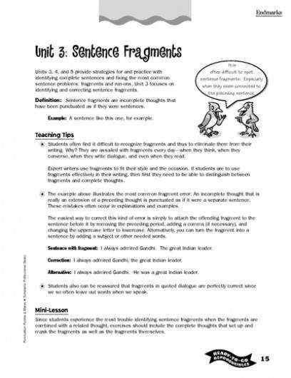 4th grade sentence fragments worksheets Google Search