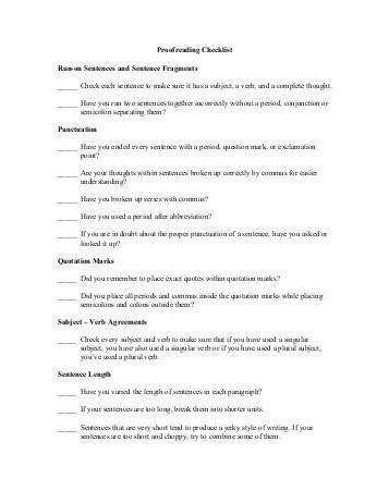 Proofreading Checklist Run on Sentences and Sentence Fragments