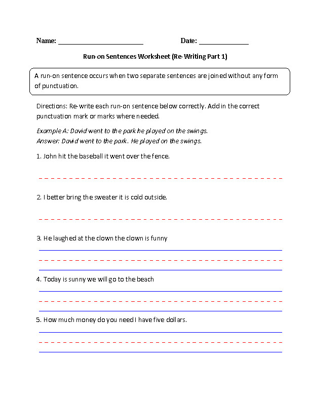 Run on Sentences Worksheet Part 1