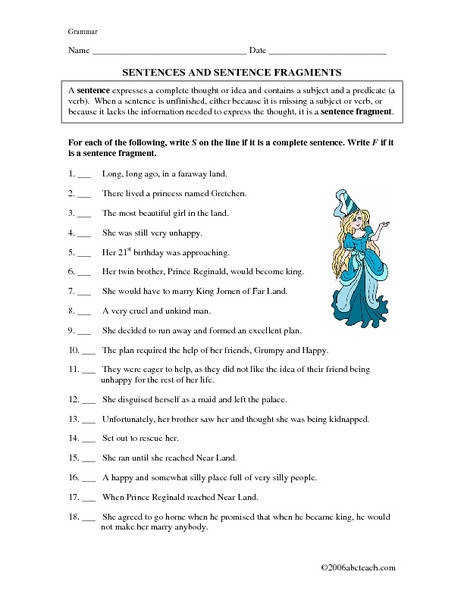 Sentences And Sentence Fragments 5th 7th Grade Worksheet