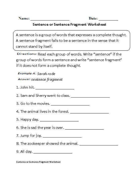 Sentence fragment worksheet free delwfg correcting fragments pichaglobal