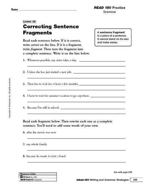 correcting sentence fragments worksheet kidz activities. Black Bedroom Furniture Sets. Home Design Ideas