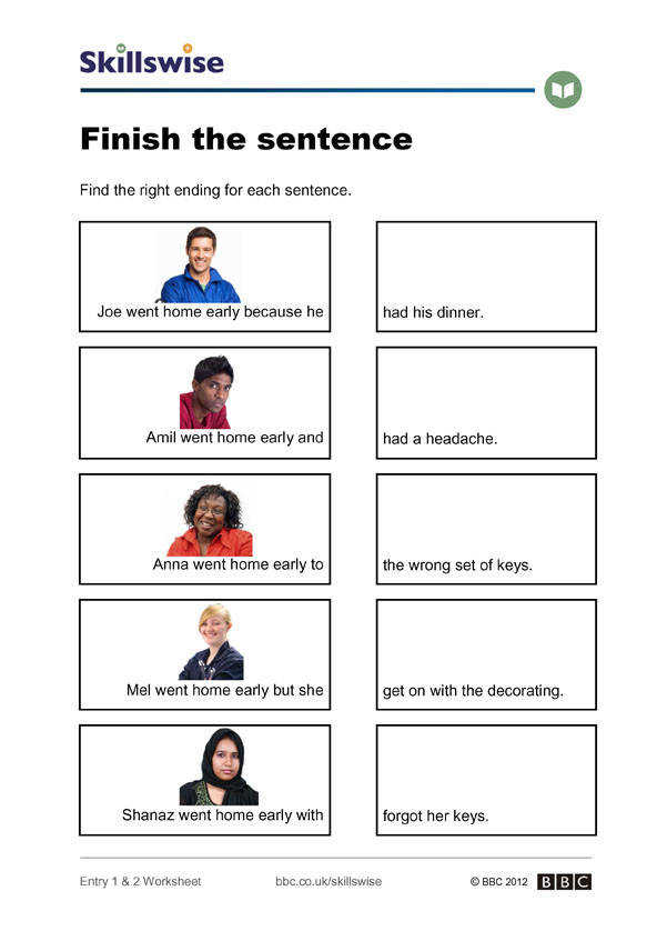 Sentence structure worksheet preview