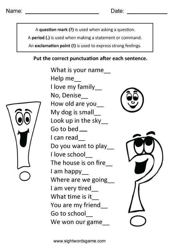 Types of Sentences Worksheet