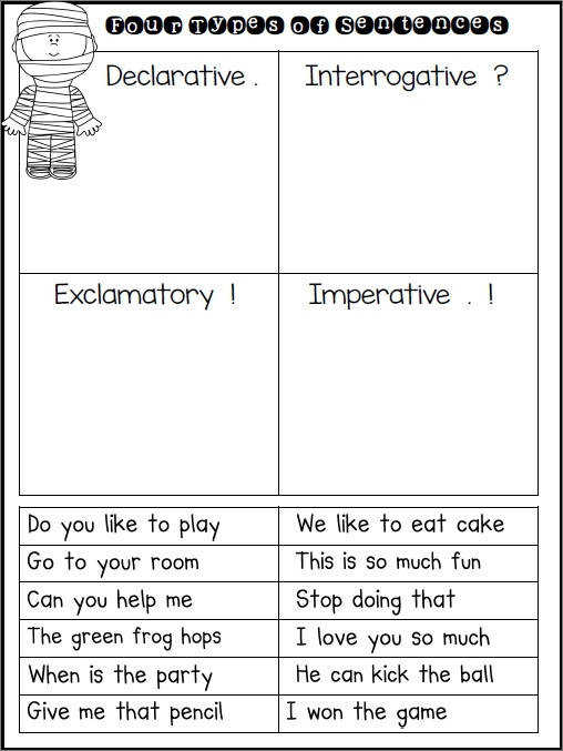 preschoolers science sentence type worksheets dexterity four types