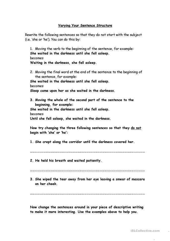 Declarative Sentence Worksheet