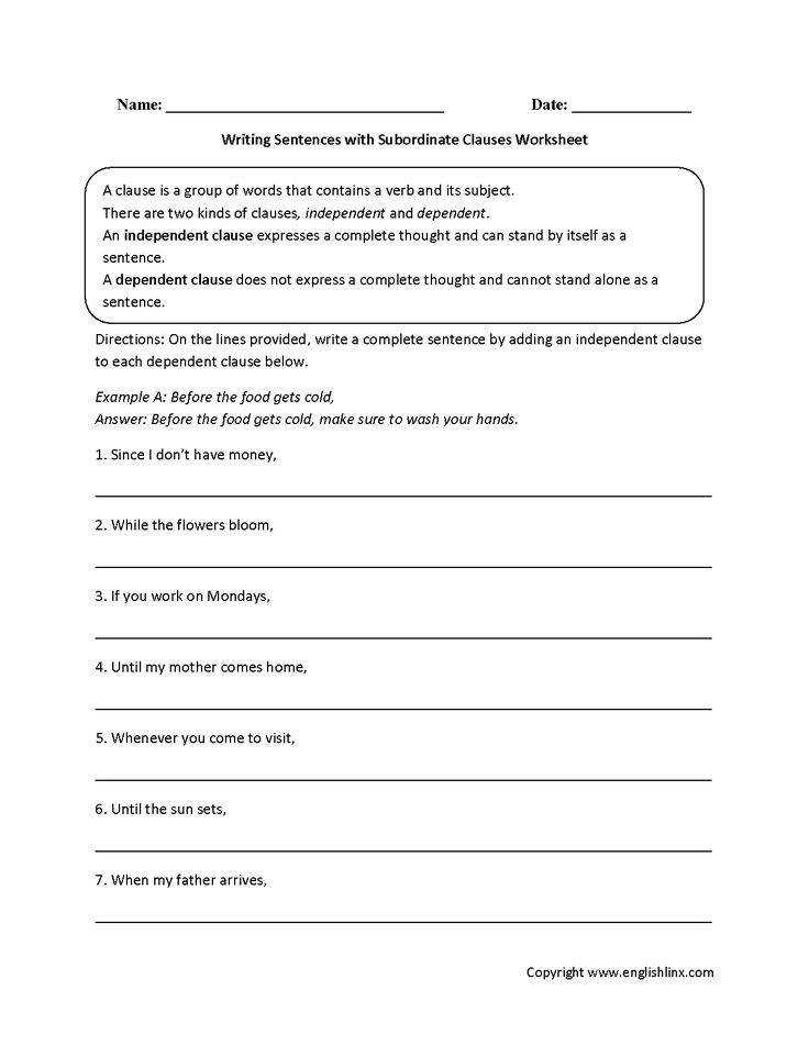 Writing Sentences with Subordinate Clauses Worksheet