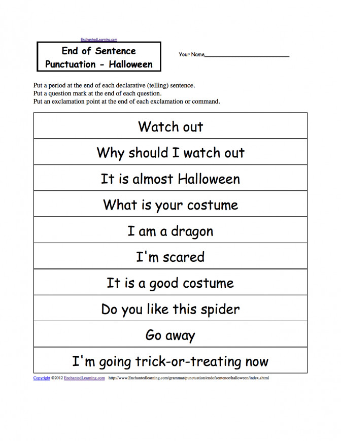 Halloween Activities Writing Worksheets Enchantedlearning Free Sentence Building For Kindergarten Sentence Writing Worksheets For Kindergarten