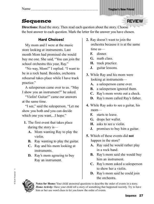 Sequence Of Events Worksheets Homeschooldressage Com