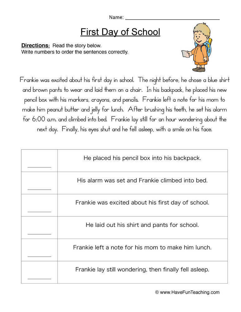 Sequence Of events Worksheets
