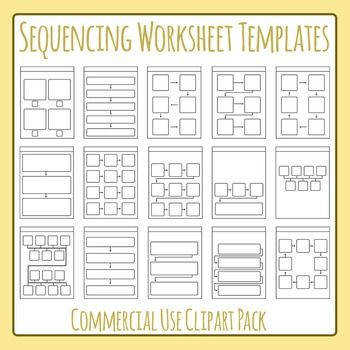 Sequencing Worksheet Templates Layouts Clip Art Set for