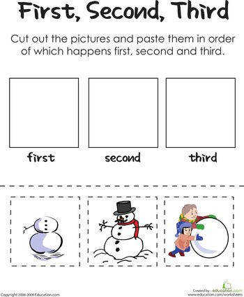 First Second Third Building A Frosty Snowman Sequencing Worksheets prehension