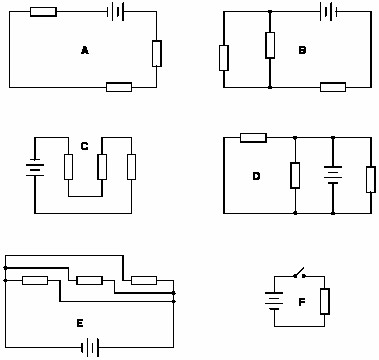 Identify which of these circuits is a series circuit there may be more than one shown