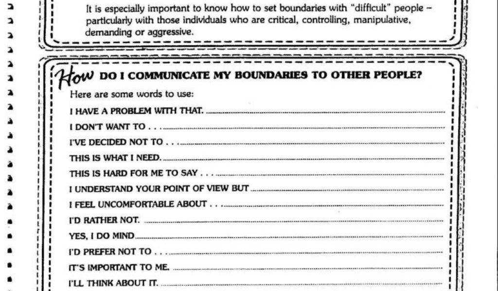 Drug And Alcohol Worksheets For Adults And Setting Boundaries