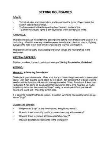 Image result for Healthy Boundaries Worksheet Setting